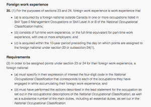 Foreign Work Experience